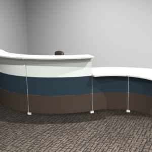 Project #12 - Curving Reception Desk with Metal Fronts
