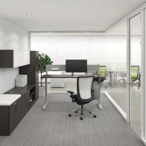 Height Adjustable Desk with Laminate Storage
