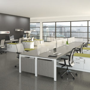 Open Concept Workstations with Layered Credenzas and Guest Cushion