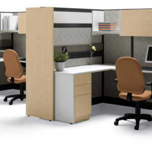 Workstations with Overhead Storage and Acrylic Panels